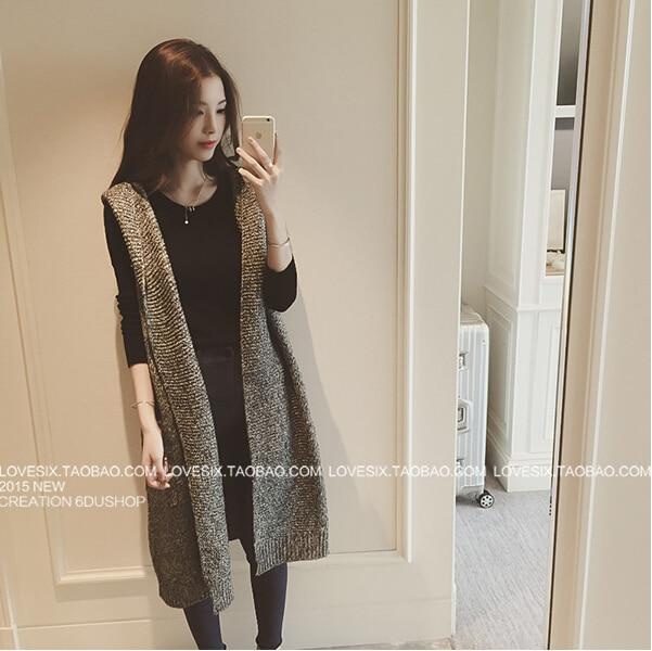 Knitting Pattern Ladies Sleeveless Cardigan : women long cardigans 2015 Sleeveless autumn Fashion long knitted hooded cardi...