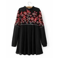 Vintage Floral Embroidery Dress Stand Collar Long Sleeve Women Mini Pleated Chiffon Dresses Black Brand vestidos SYJZ0895