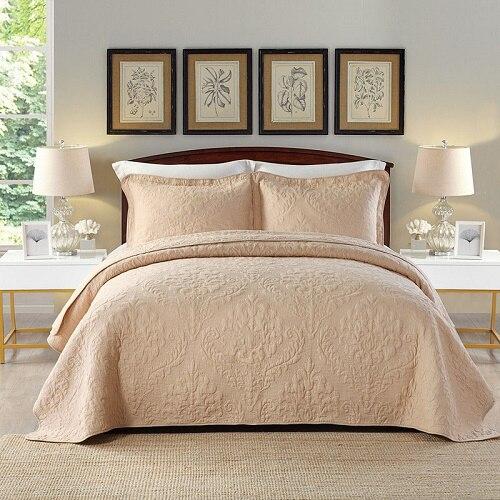 Chausub качества Хаки мыть хлопок Стёганое одеяло комплект 3 шт. вышивка Стёганое одеяло S покрывало Стёганое одеяло ED покрывало наволочка король размер - Цвет: khaki