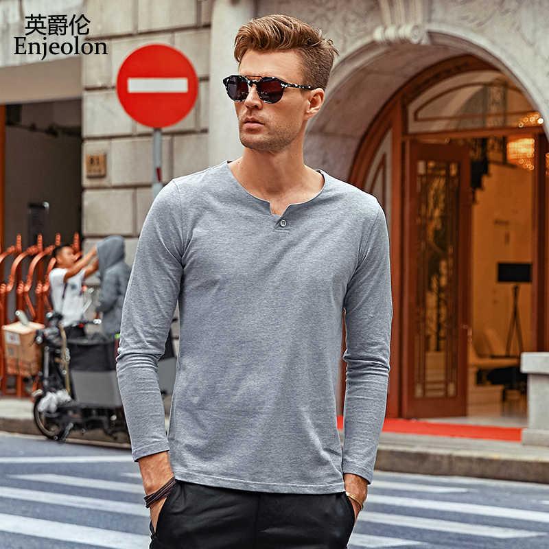 Enjeolon Брендовые мужские футболки одежда с длинным рукавом Одежда с v-образным вырезом однотонные черные футболки облегающие Топы S-4XL Бесплатная доставка RST1531-1