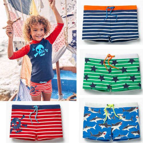 Summer Toddler Boys Kids Swimming Shorts Swimwear Summer Beach Swim Trunks Shark Stripe Pants Clothes Surfing Bathers For 1-5 T