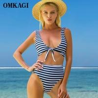 OMKAGI Brand One Piece Swimsuit Swimwear Women Push Up Bodysuit Striped Swimming Bathing Suit Beachwear Summer