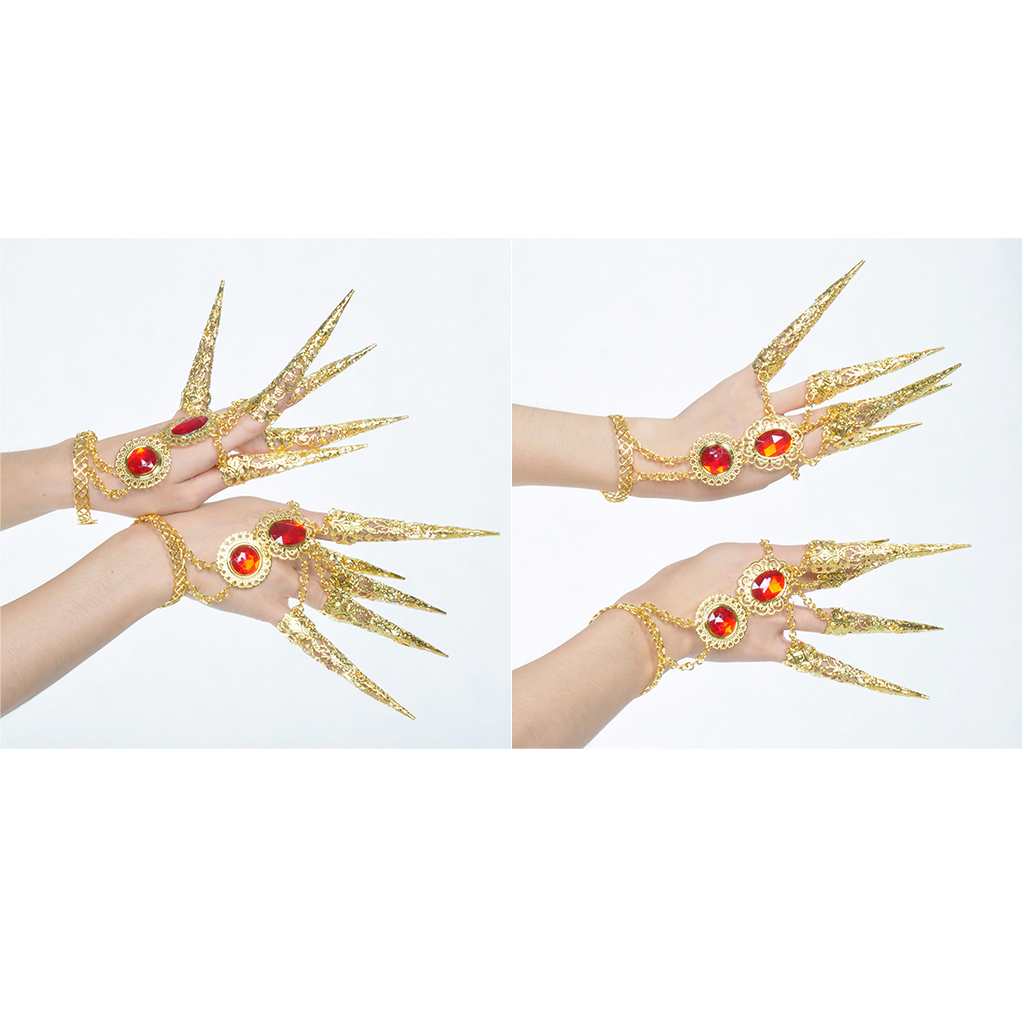 4x Womens Girls Dancing Finger Jewelry Belly Dance Nail Finger Indian Thai