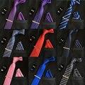 De alta calidad para hombre corbatas de seda 8 cm corbata y gemelos y clip de corbata + pañuelos con 4 sets gravatas Rayas jacquard Boda lot