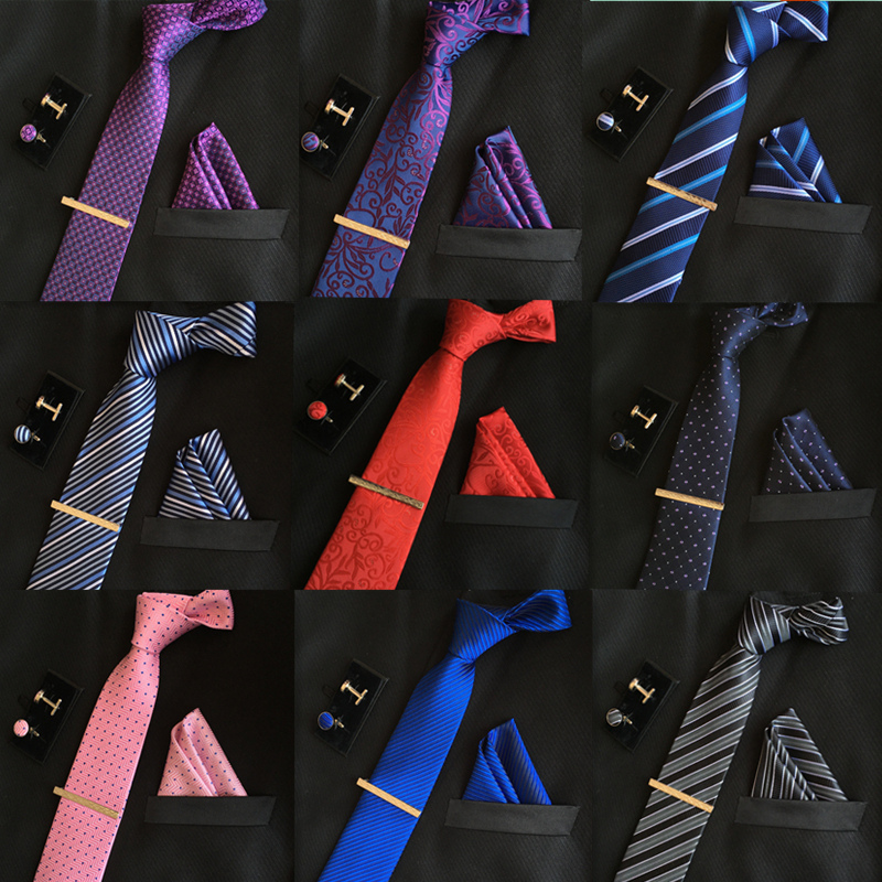 High Quality Mens Silk Ties 8 Cm Necktie And Cufflinks & Tie Clip + Hankies With 4 Sets Gravatas Jacquard Striped Wedding Lot