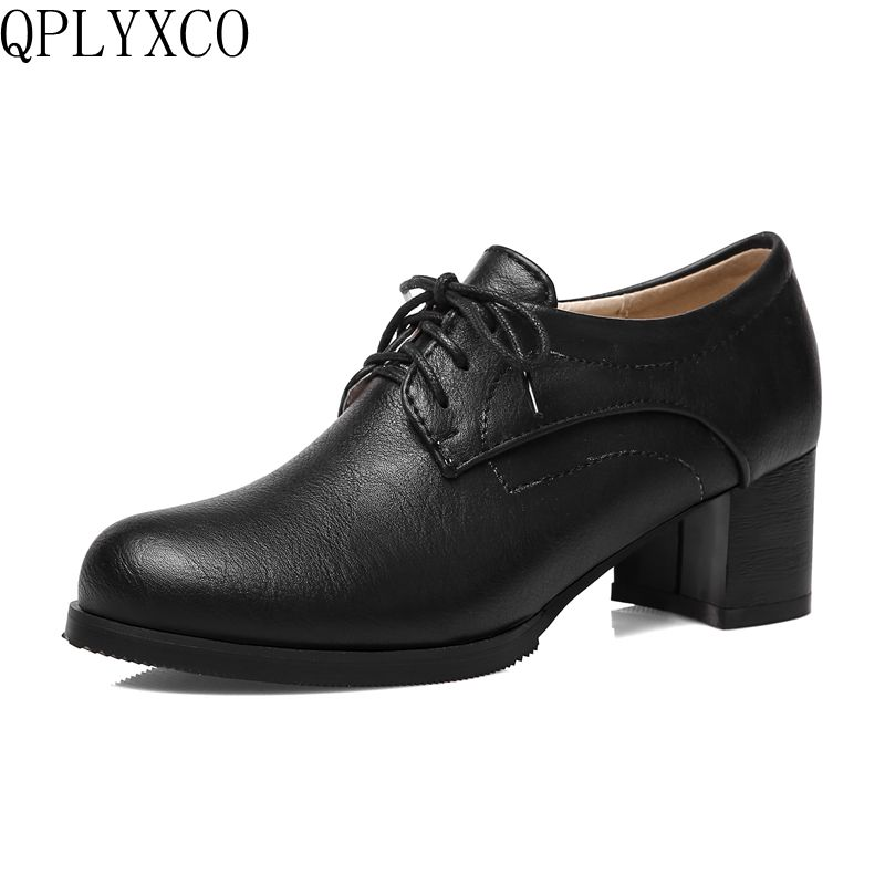QPLYXCO New Elegant plus big size 32-43 women shoes high heels round toe sapato feminino platform shoes Lace up casual C203 guvoosm ladies med heels pumps women black casual sapato feminino rubber slip on shoes woman round toe big small size 31 43