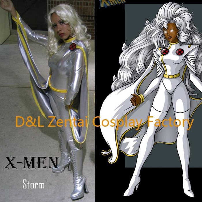 Free Shipping DHL X- Men Storm Ororo Munroe Superhero Costume Silver Shiny Metallic Suit Halloween Cosplay Costume XM112