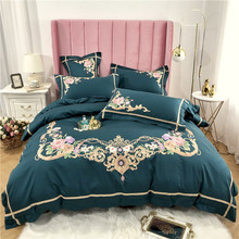 New Luxury 60S Egyptian Cotton Gold Royal Embroidery Bedding Set Green Blue Pink Purple Duvet Cover Bed sheet/Linen Pillowcases