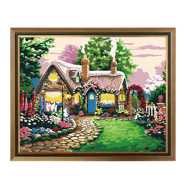 Diy Painting By Numbers European Villa Landscape Living Room Bedroom Decorative  Painting Ideas Fairy Tale Cottage