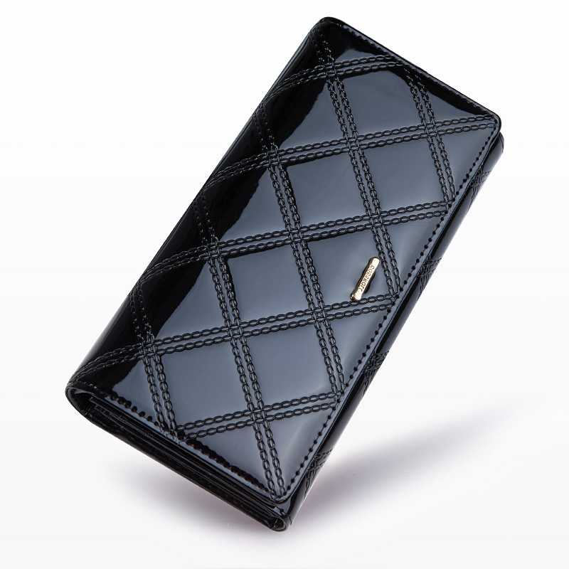 ФОТО Female Patent Leather Wallet Elegant Brand Purse Genuine Leather Designer Handbag Female Fashion Phone Bags