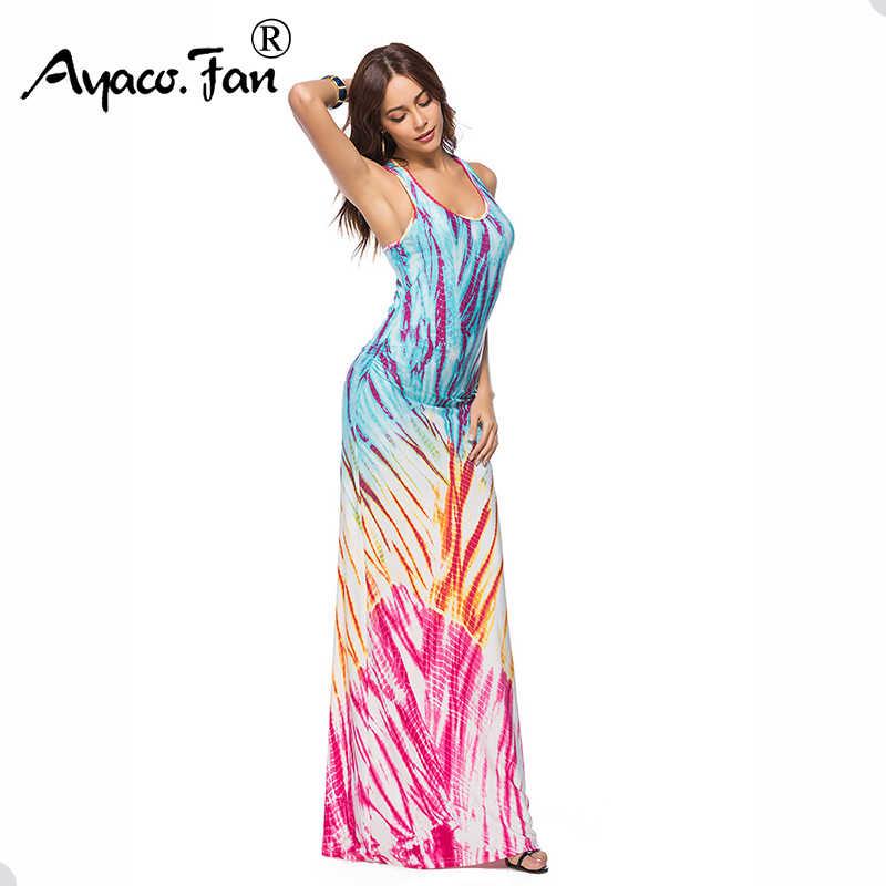 9ece119cd9 Sleeveless Women Long Maxi Dress Summer New Tank O-Neck Floor-Length  Natural scenery Beach Dresses Slim Sundress Plus Size 5XL