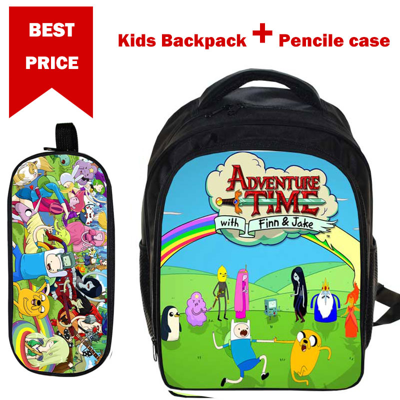 Girls Boys Cartoon SchoolBag Simpsons AdventureTime Students BookBag Children Daypack with Pencil Case Back to School Gifts