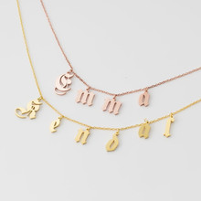лучшая цена 1-6 Old English Initial Necklace Women Men Custom Jewelry Personalized Name Choker Silver Rose Gold Collar Mujer Bridesmaid Gift