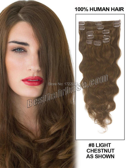 16 Best Body Wave Clip In Hair Extension Light Chestnut8 7 Piece
