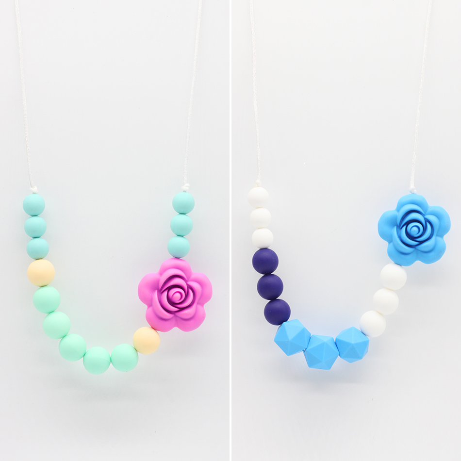 Wew baby teether silicone necklace collar lactante silicone bpa free silicone beads for baby charm pendant necklace Teething Toy
