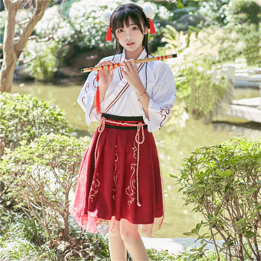 Summer Woman Japanese Traditional Dress Embroidery Ancient Fashion Kimono Girls Japanese Style Clothes Outfits Lace Up Skirt 9