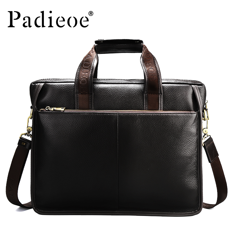 Padieoe Luxury Genuine Cow Leather Briefcase Fashion Business Men Shoulder Bag High Quality Big Capacity Casual Tote Travel Bag