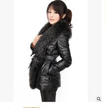 M/4Xl Womens Long Section Raccoon Fur Collar Winter Autumn Black Leather Jacket Faux Leather Cotton Padded Coats Outwear J1374