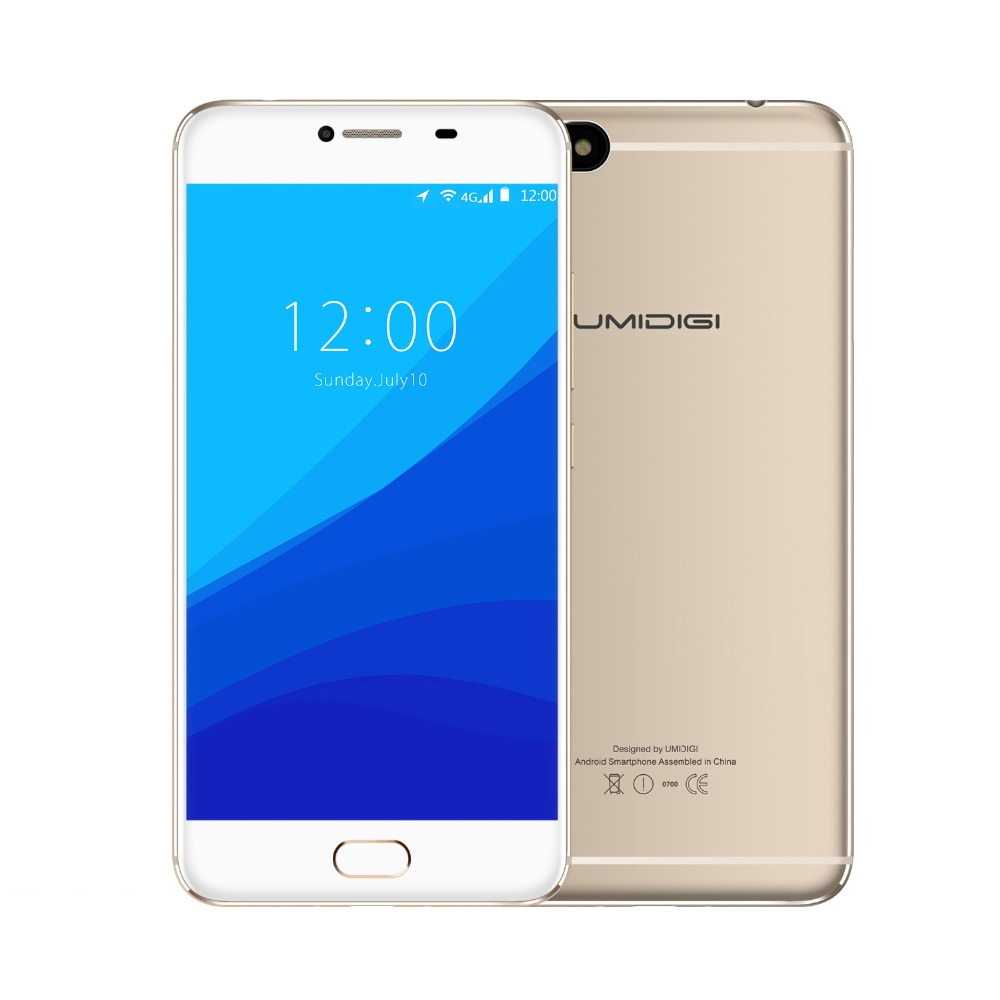Umidigi C Hinweis Android 7.0 Metall Handy Fingerabdruck Mobilen telefon MTK MT6737T 3 GB RAM 32 GB ROM 3800 Mah autofokus 4G telefon