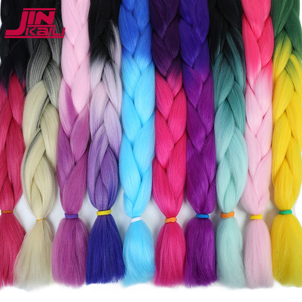 24 inch Ombre Colored Crochet Hair Extensions Kanekalon Hair Synthetic Crochet Braids Ombre Jumbo Braiding Hair Bundle JINKAILI