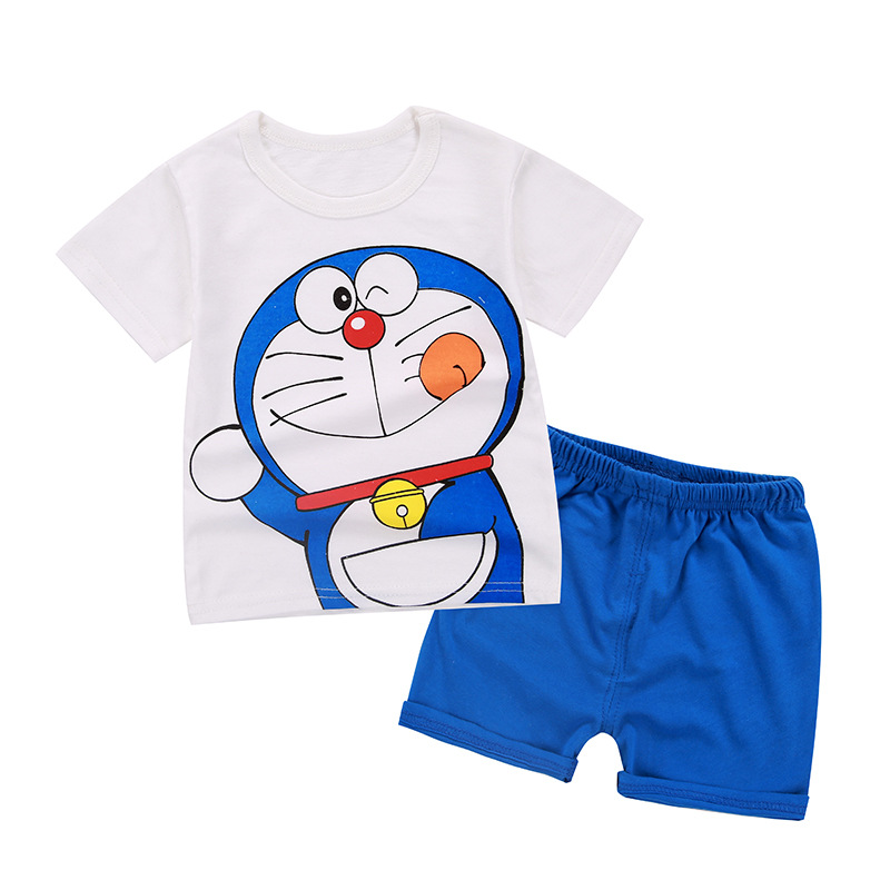Summer Leisure Doraemon Children Sport Suits Short Sleeved +shorts Kids baby girl clothing Boy Clothes Cartoon Pajamas T-shirt