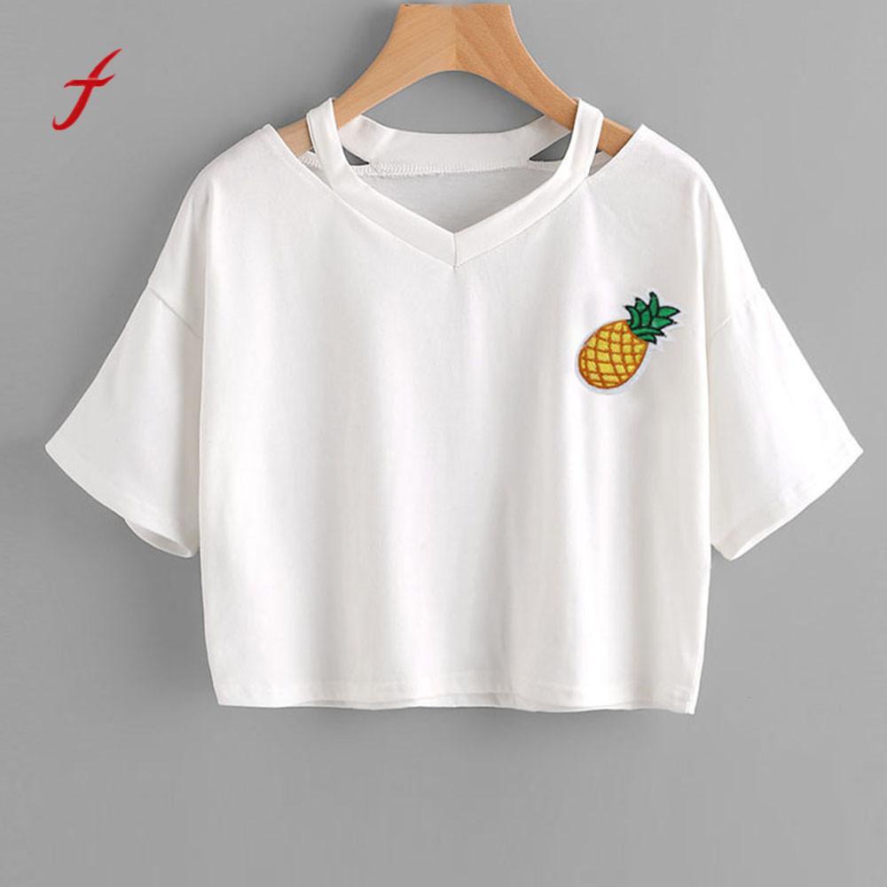 FEITONG Pineapple Printed Shirts Women Casual V-Neck Off Shoulder Clothes 2018 Short Sleeve Summer Blusa Tops Shirt Tees #0120