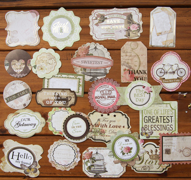 Enogreeting vintage old fashion paper die cuts handmade decorating scrapbooking tags name titlesquotes stickers 50pcs lot in embellishments from home