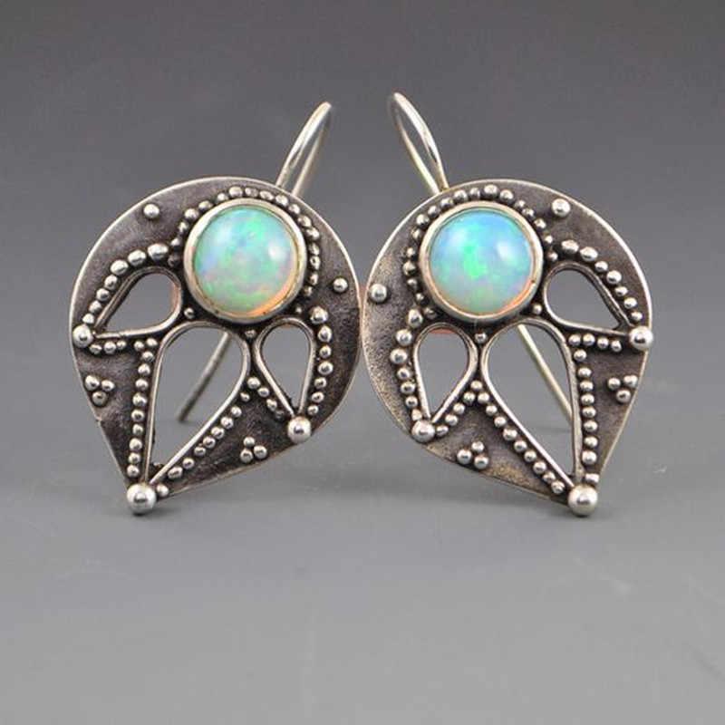 MDNEN Vintage Opal Stud ต่างหูแฟชั่นสตั๊ดต่างหูสำหรับผู้หญิงงานแต่งงานเครื่องประดับต่างหู
