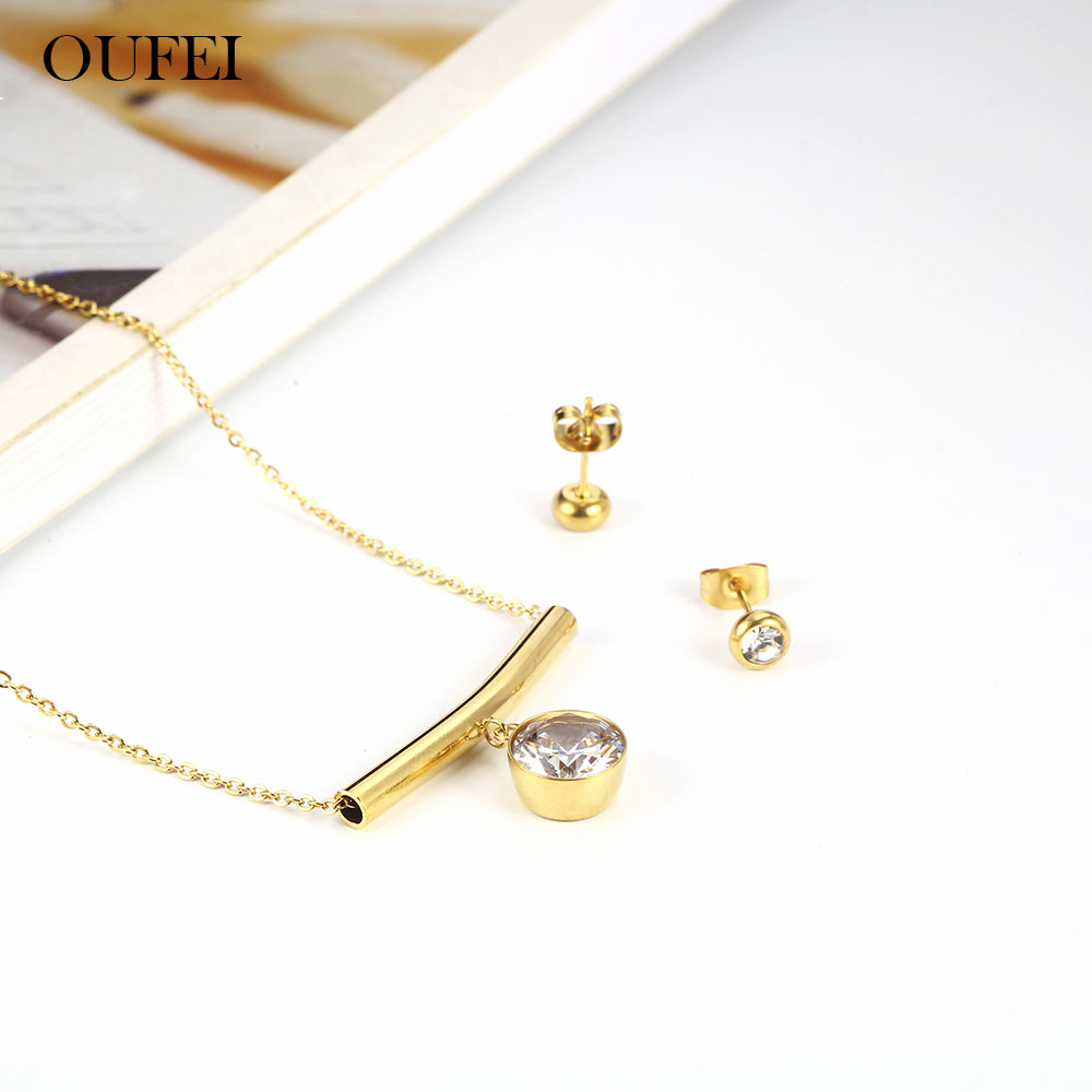 OUFEI Stainless Steel <font><b>Jewelry</b></font> Woman Vogue <font><b>2019</b></font> <font><b>For</b></font> Lovers Necklace And Earring <font><b>Set</b></font> Gifts <font><b>For</b></font> Women <font><b>Jewelry</b></font> Accessories image