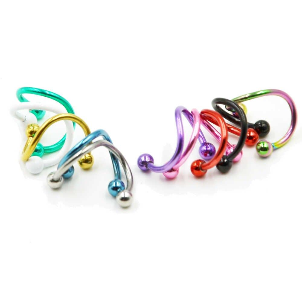 1pc 16G Titanio Anodizzato Acciaio Inox S Doppia Spirale Barbell Dell'orecchino Dell'orecchio della Cartilagine Helix Lip Anelli Trago il Piercing Monili per il corpo e Piercing