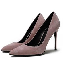 Mature Women's Elegant Footwear Classic Kid Suede Leather Date Large Size 41 Slip On Pumps Woman Shoes High Heel Shoes E0075 bonjomarisa 2018 kid suede large size 33 40 women shoes woman slip on chunky heels mules pumps woman shoes