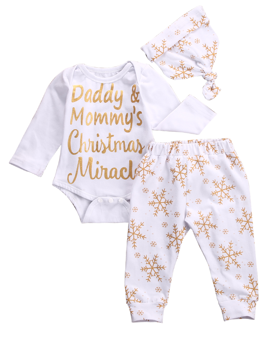 2016 Hot Sale 3pcs Baby Set!!Christmas Baby Girls Boys Gold Snowflake Long Sleeve Bodysuit Tops+Long Pants +Hat Xmas Baby Set