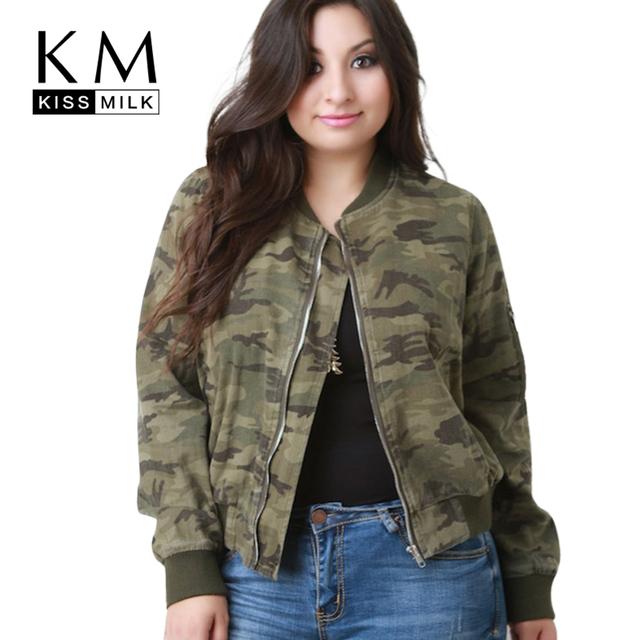 Kissmilk plus size moda feminina clothing camuflagem ocasional outwear o pescoço de manga longa tamanho grande estádio jaqueta 3xl 4xl 5xl 6xl