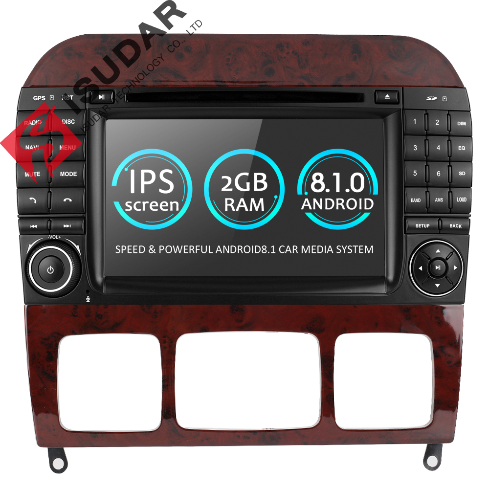Isudar Car Multimedia Player DVD Automotivo 2 Din Andorid 8.1 For Mercedes/Benz/W220/W215/S280/S320/S350/S400 S Class GPS Radio ouchuangbo android 7 1 car gps radio recorder for mercedes benz s w221 s280 s320 s400 s600 s63 2006 2013 with 8 core 2gb 32gb