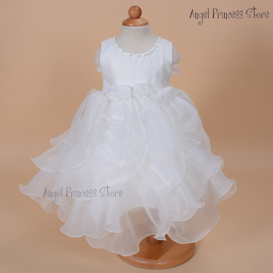 DF07 Ivory New 2015 Flower Girls Party dress Pageant summer Dance fomal Princess Dress 1-7 Years 12 18 24MONTHS 3T 4T 5T 6T 7T