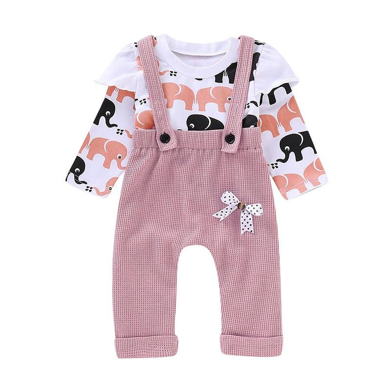 Children girl Overalls elephant clothes autumn children girl clothes cotton long sleeve t-shirt strap pants suit