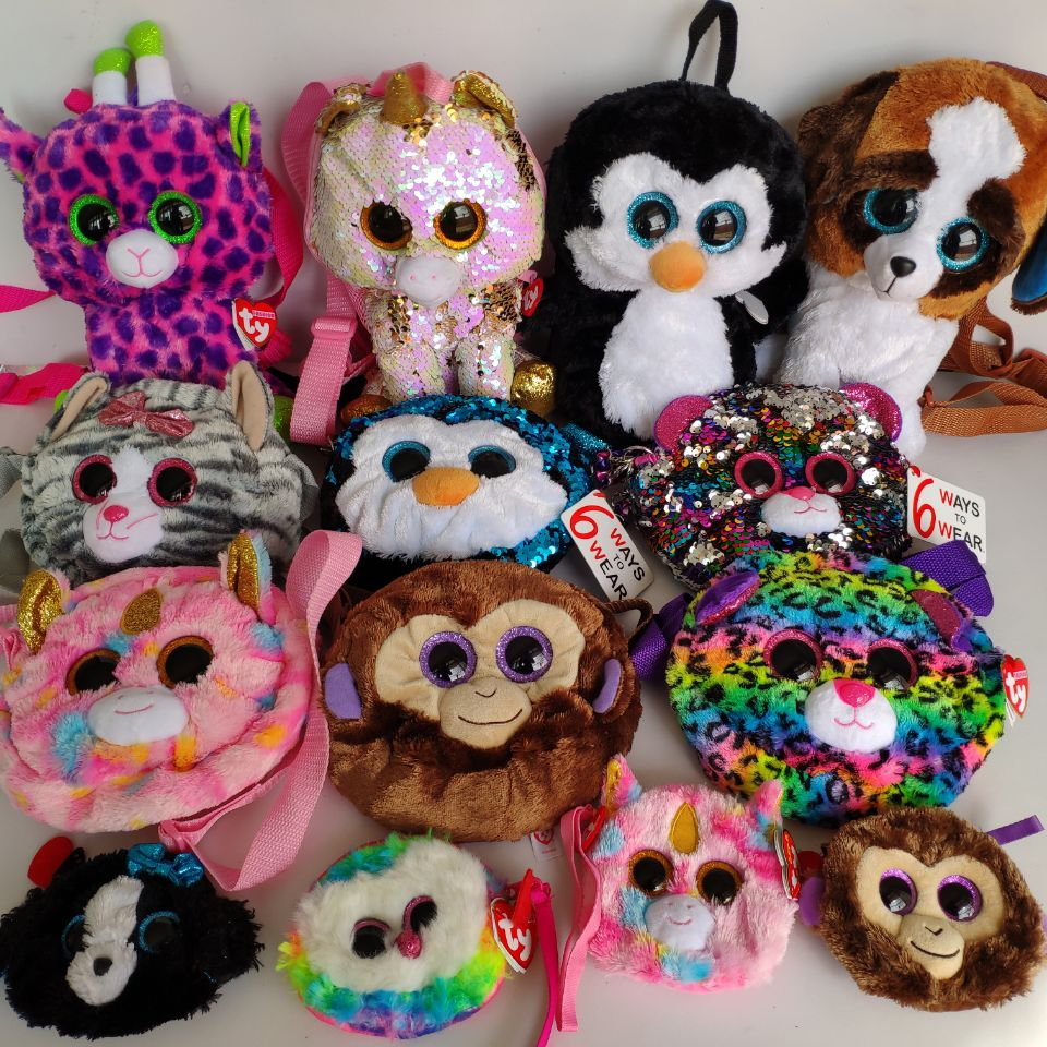 KIKI Cat Rainbow Dog  Tracey Dog  Gilda Flamingo Wallet Rainbow Dog TY Unicorn Stuffed Animals Children Toy Bag