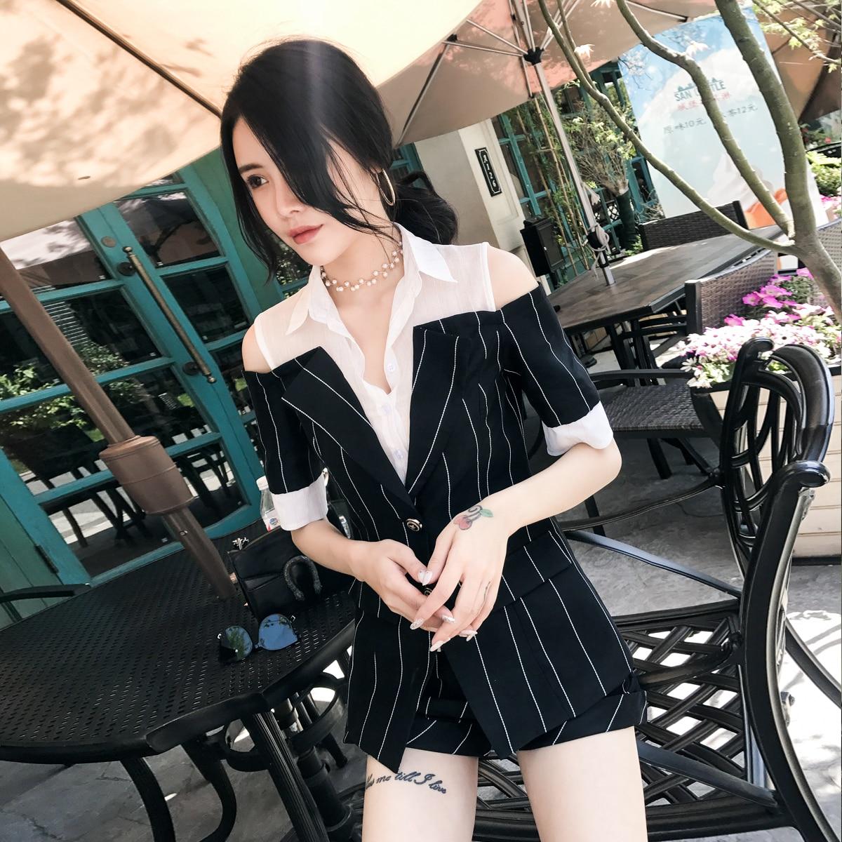 En Petit De Mince 1 Manteau Coréenne Coton Lin Féminin Version Costume Casual Rayé Court Suoxueer VGzSUMqp