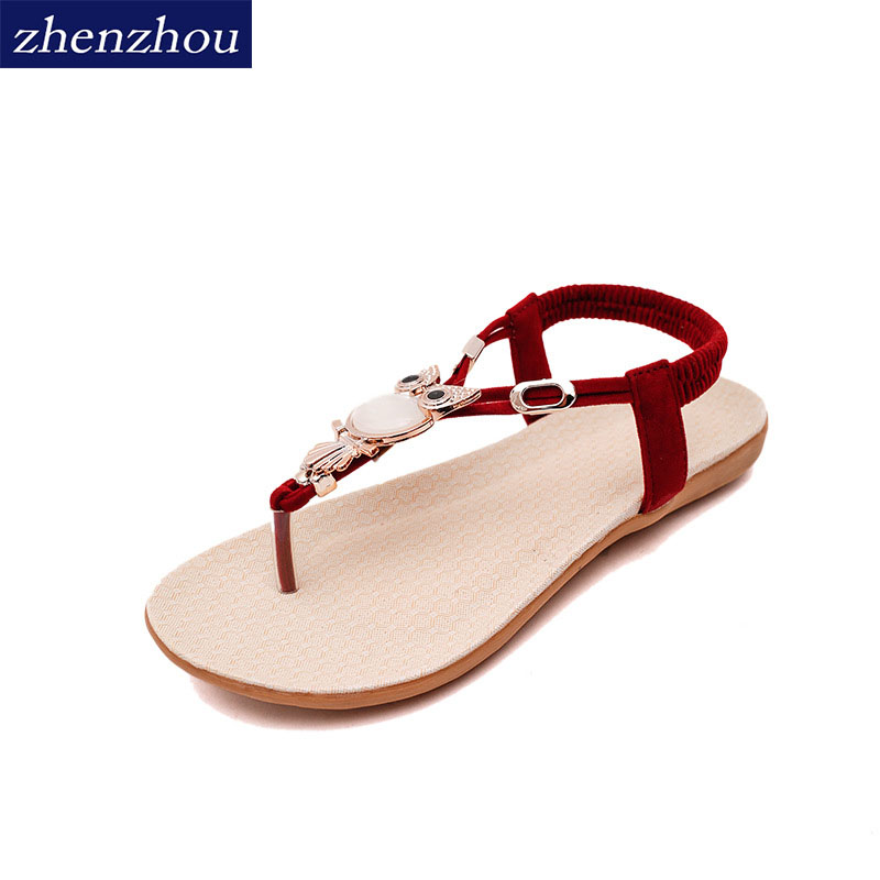 Free shippingSpring/summer 2018 summer new sandals female flat with flat student tide Korean rhinestones clip toe sandal fem стоимость