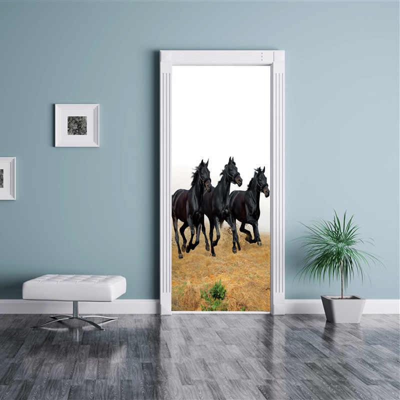 3d Horse Door Wallpaper Sticker Wall Sticker Muralhorse Old Stall