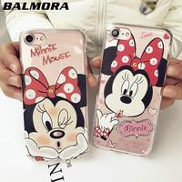 BALMORA Minnie Strass Transparante Case Volledige Cover Rand Zachte Siliconen antiklopmiddelen Cover Case Voor iPhone 6 6 s Plus 7 7 Plus