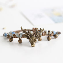 2017 New Handmade Unique Women Deer Bracelets Ceramic Beaded Fashion Jewelry Female Original Blue Green Men Bracelets & Bangles