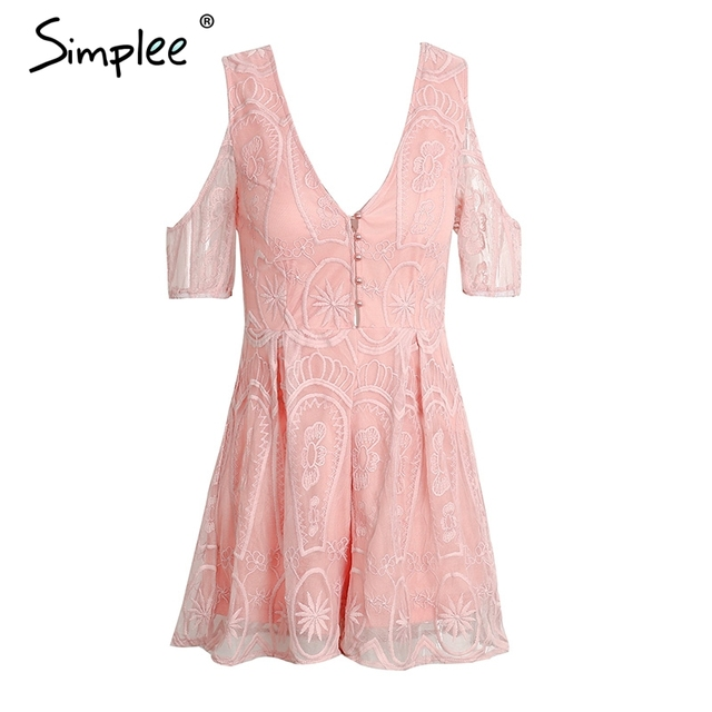 Simplee Lace up backless sexy jumpsuit romper Women off shoulder button floral playsuit Summer elegant v neck white lace overall