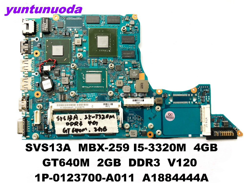 Original for Sony SVS13A laptop motherboard MBX-259 <font><b>I5</b></font>-<font><b>3320M</b></font> 4GB GT640M 2GB DDR3 V120 1P-0123700-A011 A1884444A tested good image