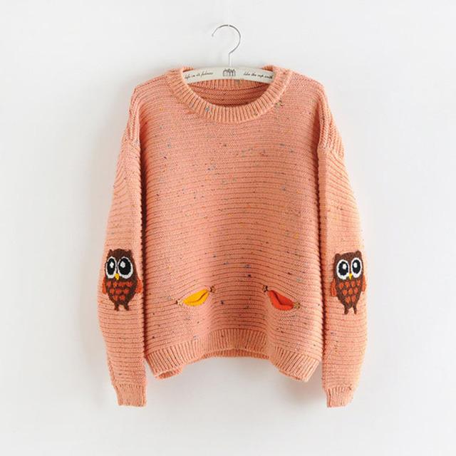 2016 moda otoño invierno o-cuello cuello nueva owl carácter con hit bolsillo color sólido flojo suéter de cachemira suéteres