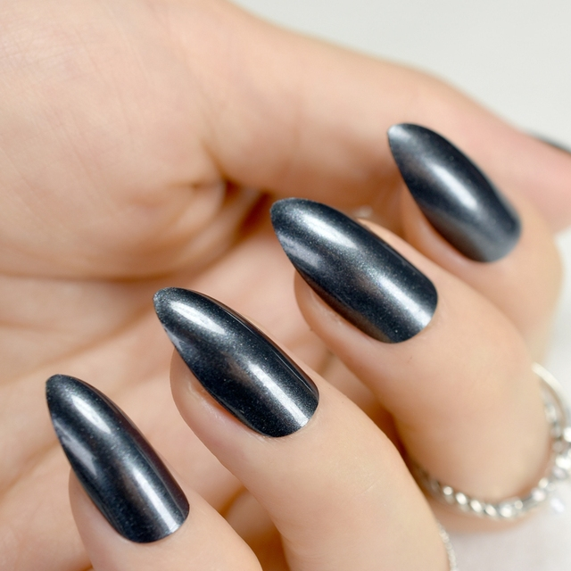 Shiny Short Stiletto Nails Dark Grey Acrylic False Nail ...