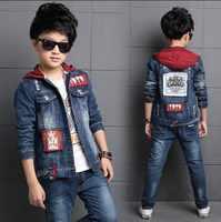 Children's clothing boy denim suit 2019 new spring Korean children's jacket big children Denim Jacket + Jeans 2 Pcs Set