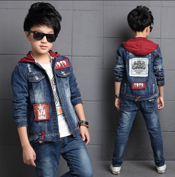 Children's clothing boy denim suit 2019 new spring Korean children's jacket big children Denim Jacket + Jeans 2 Pcs Set