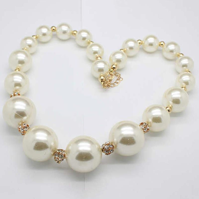 New fashion celebrity big white large pearl beads necklace chain new fashion celebrity big white large pearl beads necklace chain simulated pearl jewelry statement necklaces for women in chain necklaces from jewelry mozeypictures