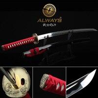 cheap handmade katana real sword genuine japanese samurai sword cosplay japan ninja sword movie prop anime katana red